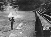 Greek runner carries torch for 1936 Olympics Games